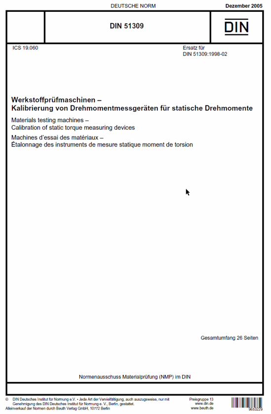 Directive DIN 51309:2005 - Presentation and Calibration Certificate
